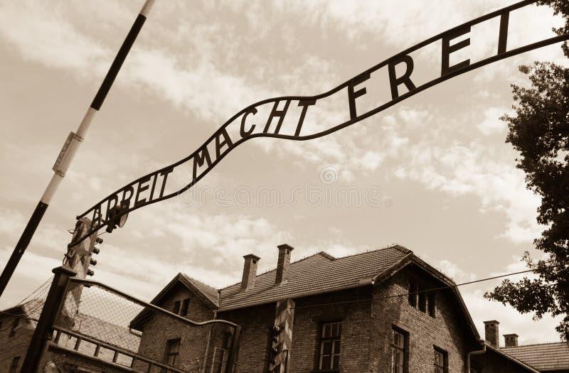 Puerta de Auschwitz fotografía de archivo libre de regalías