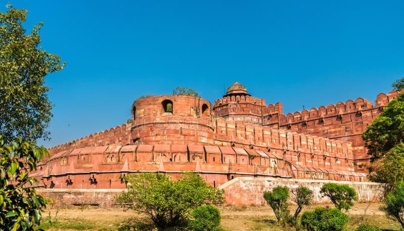 Puerta de Delhi del fuerte de Agra Sitio de la herencia de la UNESCO en la India fotografía de archivo libre de regalías