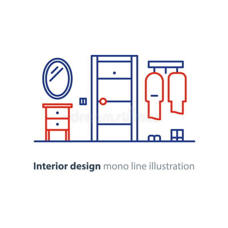 Puerta de entrada, diseño interior minimalista, línea ejemplo ilustración del vector