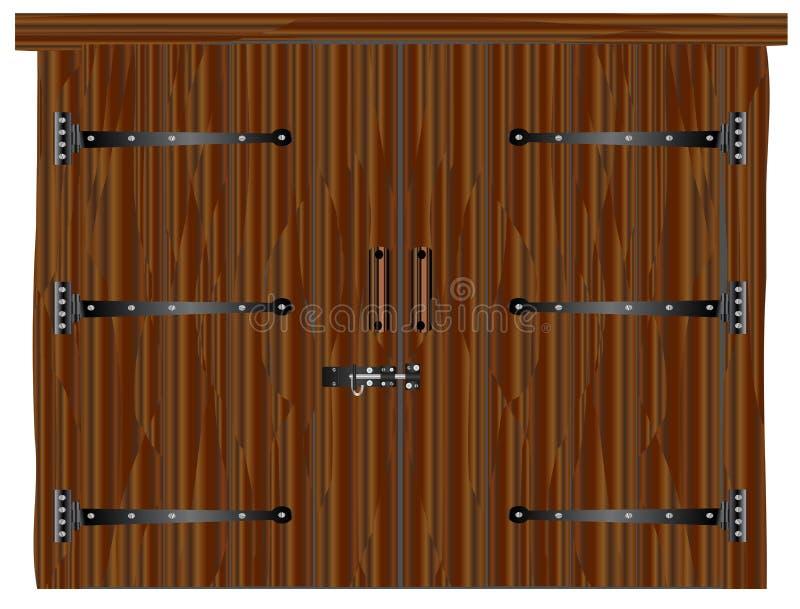 Puerta de granero de madera oscura ilustración del vector