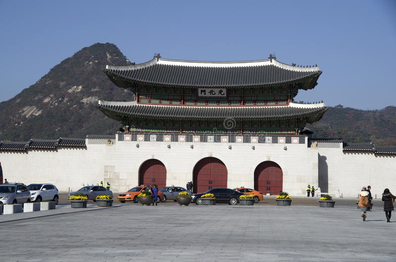 Puerta de Gwanghwamun en el palacio Seul céntrica de Gyeongbokgung imágenes de archivo libres de regalías