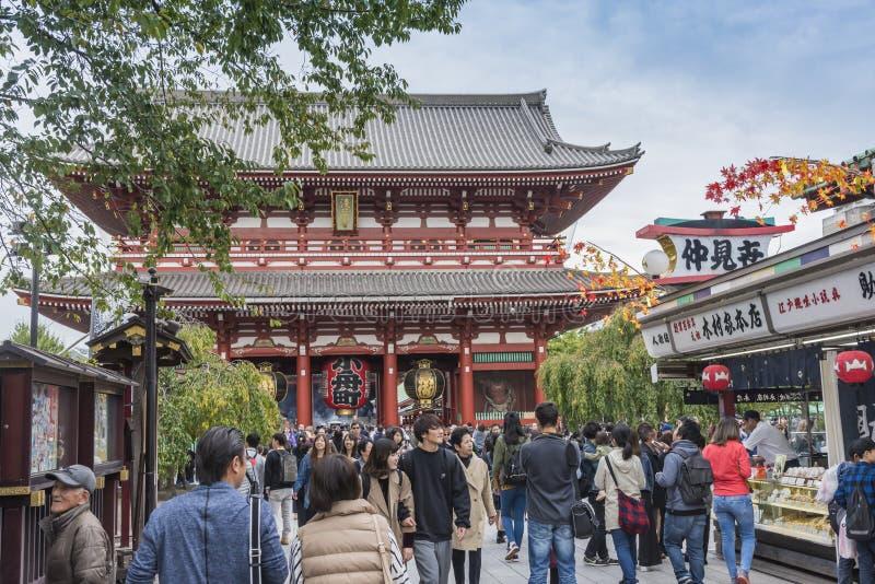 puerta de Hozo-lunes en el templo Tokio de Senso-ji imagen de archivo