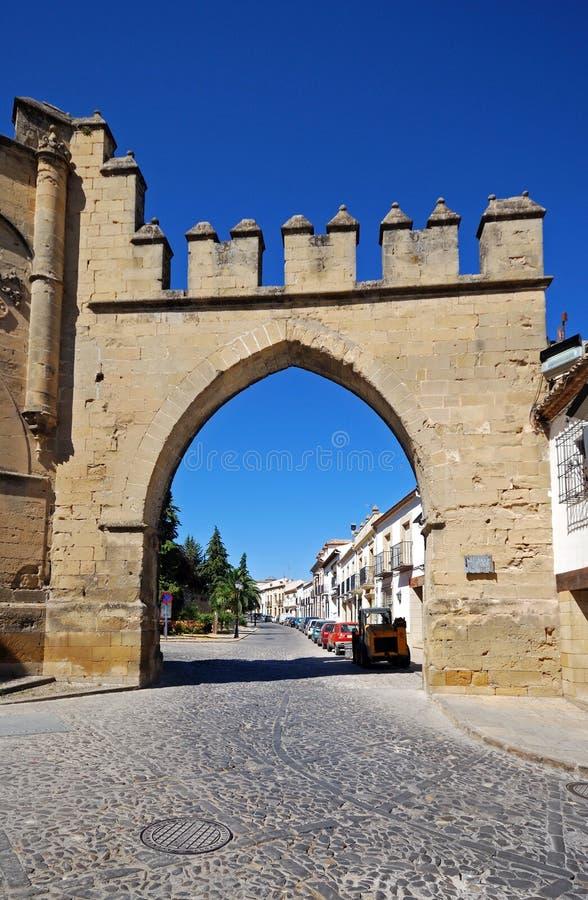 Puerta de Jaen, Baeza, Spanien. arkivfoto