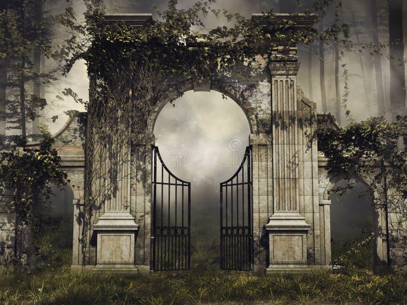 Puerta de jardín gótica con las vides libre illustration