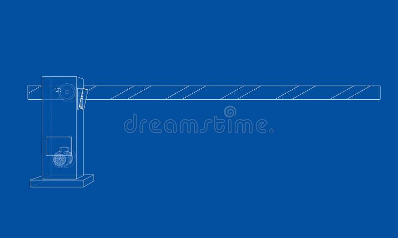 Puerta de la barrera del esquema Vector ilustración del vector