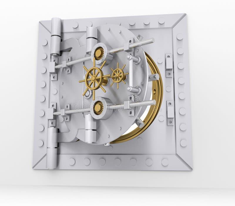 Puerta de la cámara acorazada de banco en la pared gris stock de ilustración
