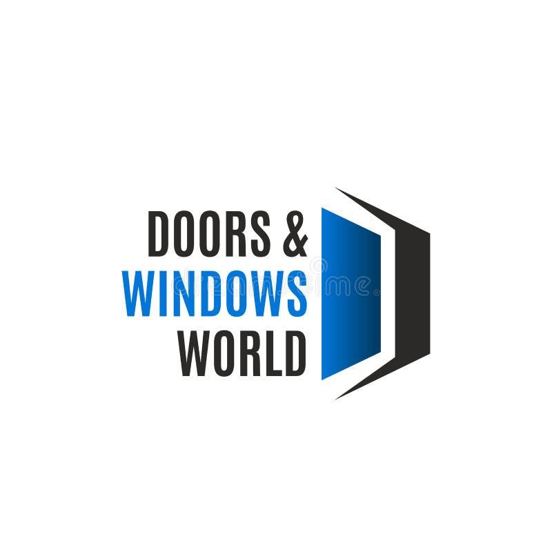 Puerta de la casa e icono del vector de la letra D de la compañía de la ventana libre illustration