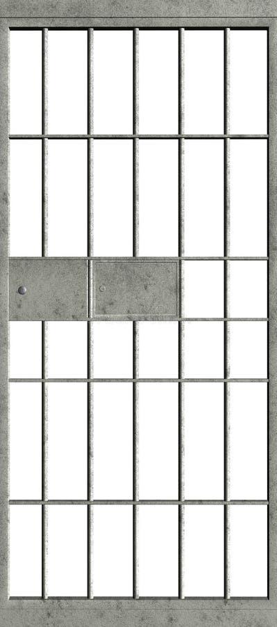 Puerta de la celda de prisión de la cárcel aislada fotografía de archivo
