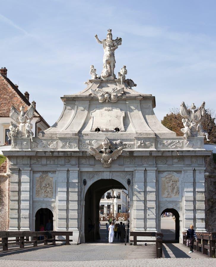 Puerta de la ciudadela Alba Iulia imagen de archivo libre de regalías
