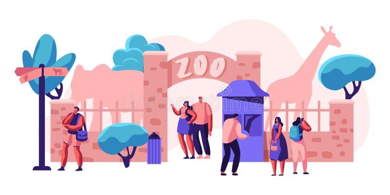 Puerta de la entrada del parque zoológico con el elefante y el árbol de la jirafa Mucha gente viene opinión sobre animal africano libre illustration