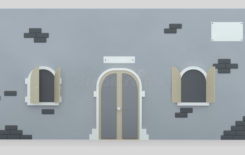Puerta de la fachada y ventanas abiertas illustratiion 3d ilustración del vector