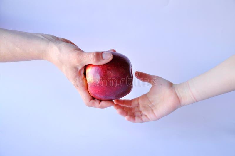 Puerta de la mano y manzana roja fotos de archivo libres de regalías