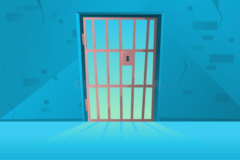 Puerta de la rejilla en estilo de la historieta Pasillo Interior de la celda de prisión del vestíbulo con enrejado Sitio de la cá stock de ilustración