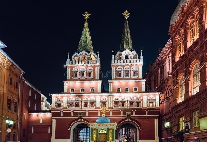 Puerta de la resurrección, acceso principal a la Plaza Roja en Moscú, Rusia imagen de archivo