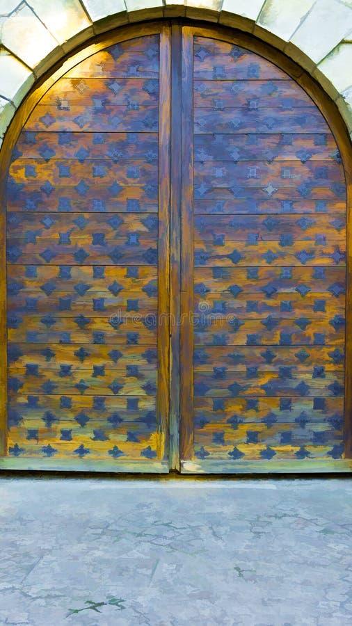 Puerta de madera stock de ilustración
