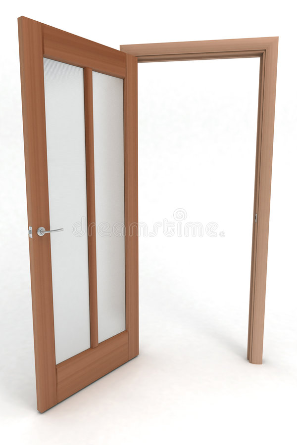 Puerta de madera abierta fotografía de archivo