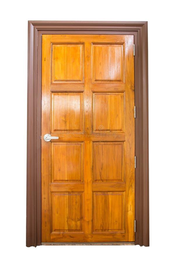 Puerta de madera aislada en el fondo blanco fotografía de archivo libre de regalías