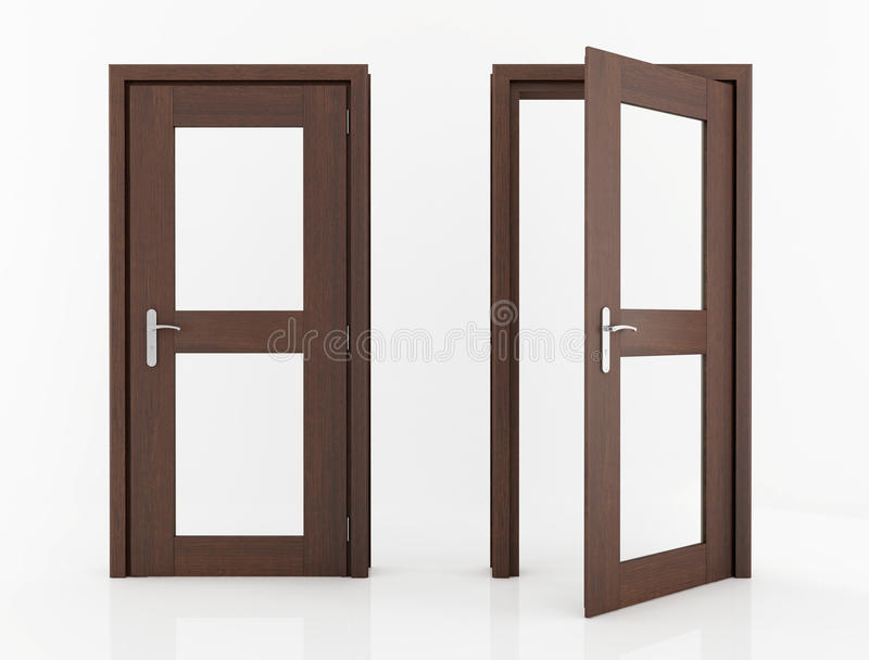 Puerta de madera con el vidrio stock de ilustraci n for Puertas de metal con vidrio