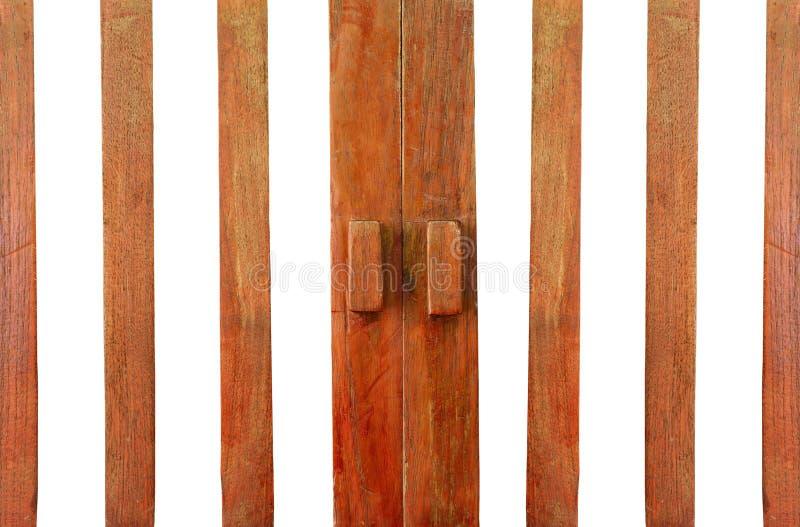 Puerta de madera con la manija imágenes de archivo libres de regalías