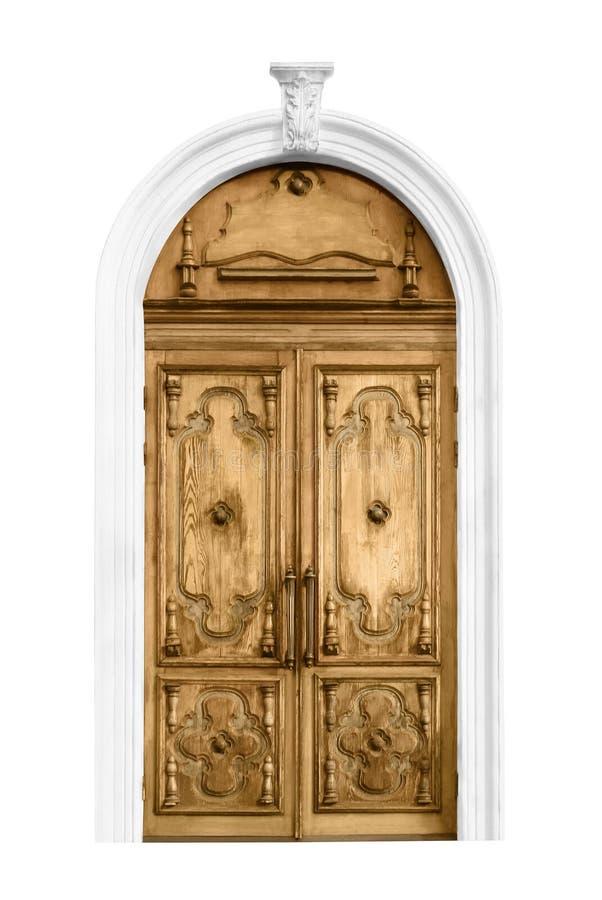 Puerta de madera del vintage cerrado imagenes de archivo