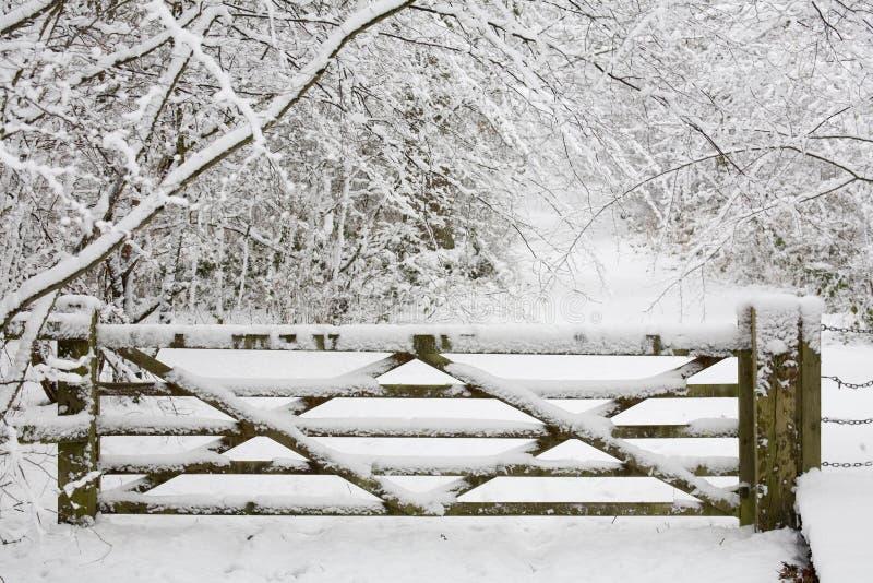 Puerta de madera en nieve imagen de archivo