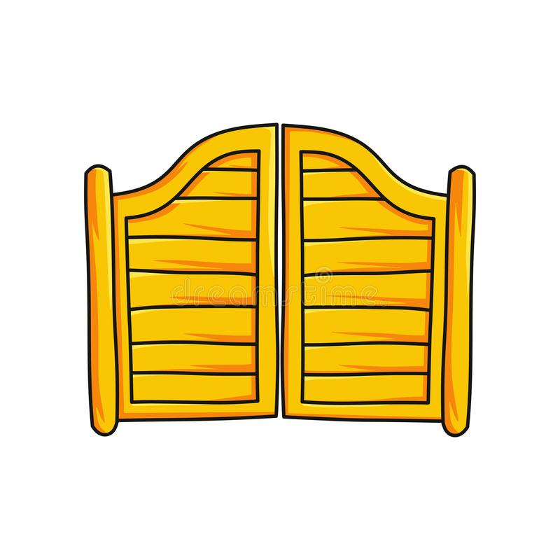 Puerta de madera a la barra de salón aislada en el fondo blanco libre illustration