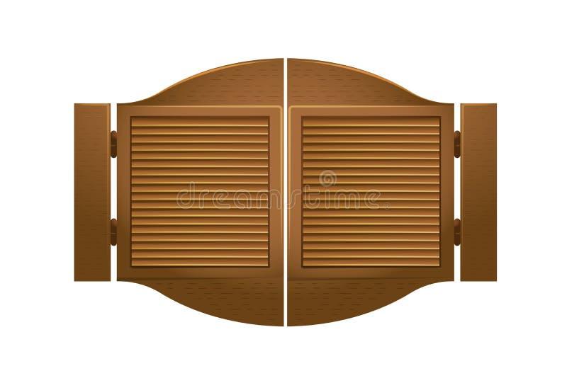 Puerta de madera a la barra de salón, en el oeste salvaje ilustración del vector