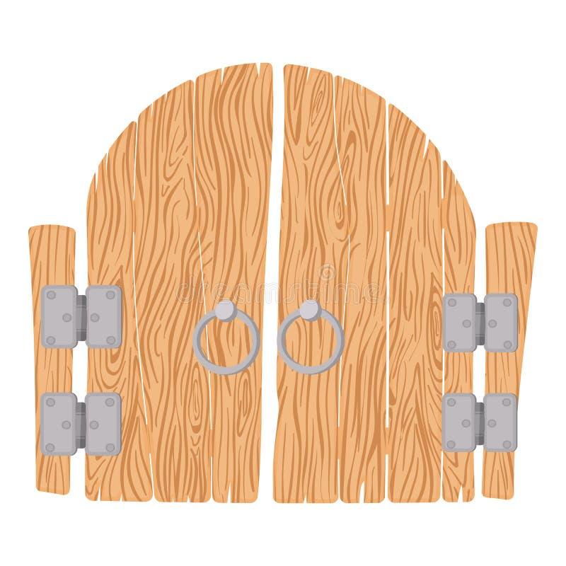 Puerta de madera de la historieta stock de ilustración