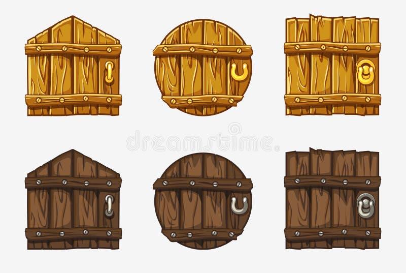 Puerta de madera de la historieta, activos del vector para el juego de Ui ilustración del vector