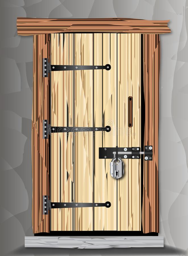 Puerta de madera vieja Padlocked de la cabaña libre illustration