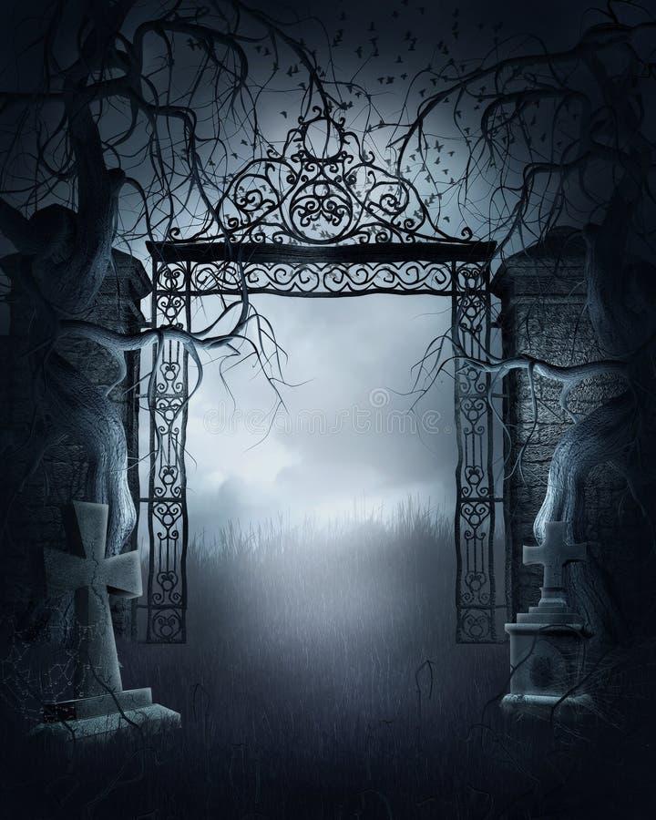 Puerta de niebla del cementerio stock de ilustración