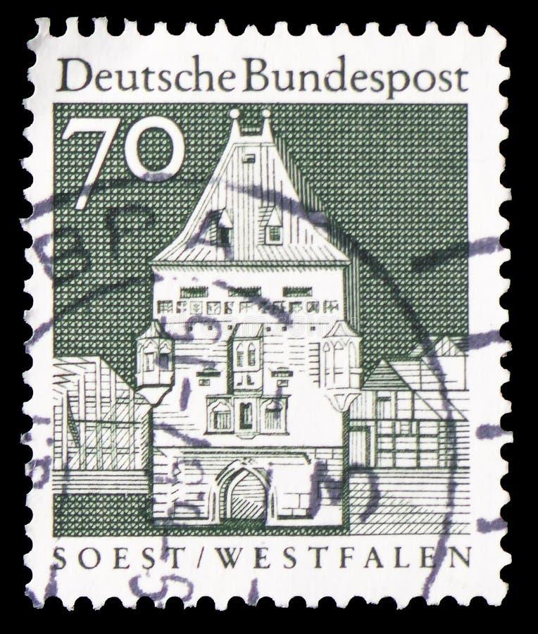 Puerta de Osthofen, Soest, Westfalen, serie, circa 1967 fotos de archivo libres de regalías