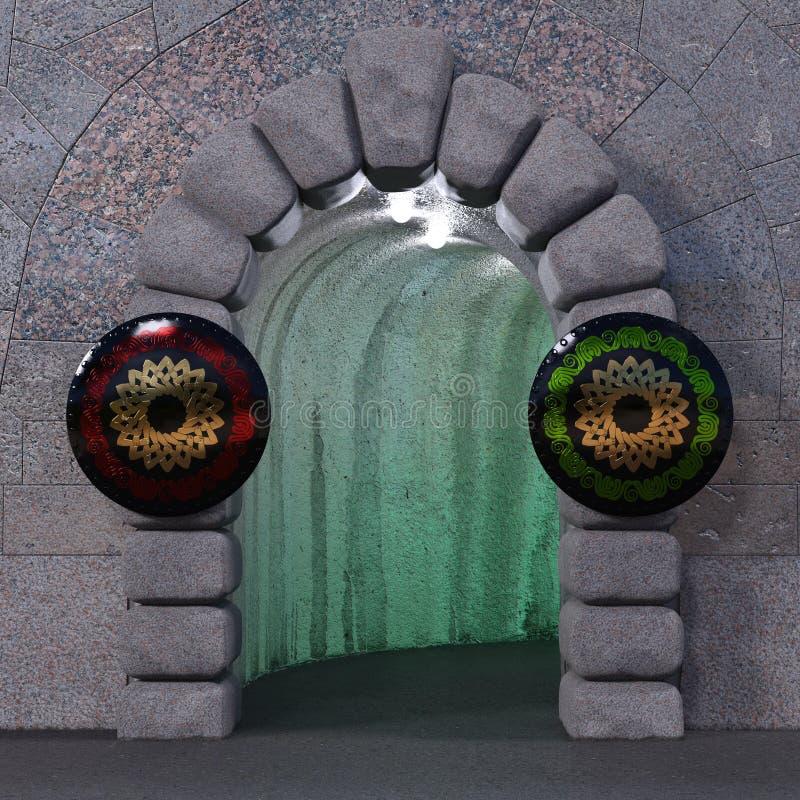 Puerta de piedra ciclópea con dos escudos imagenes de archivo