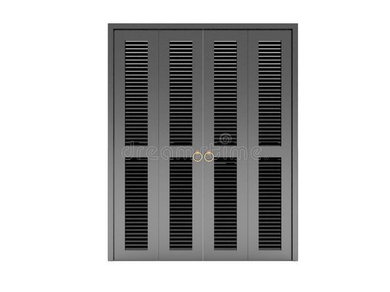 Puerta de plegamiento negra con la parrilla imágenes de archivo libres de regalías