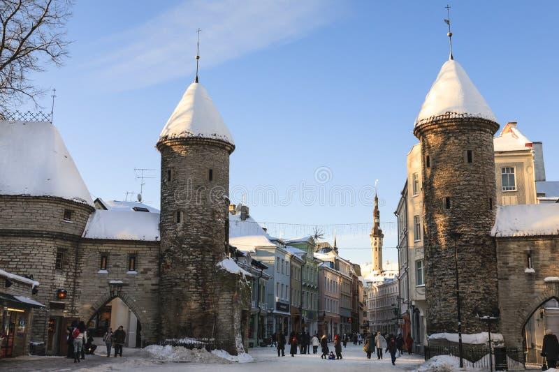 Puerta de Tallin Viru imagen de archivo