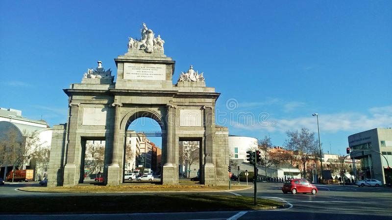 Puerta de toledo in Madrid, Spain. The Puerta de Toledo gate was built to commemorate the arrival in Madrid of Fernando VII, `the Desired One`. It is the stock image