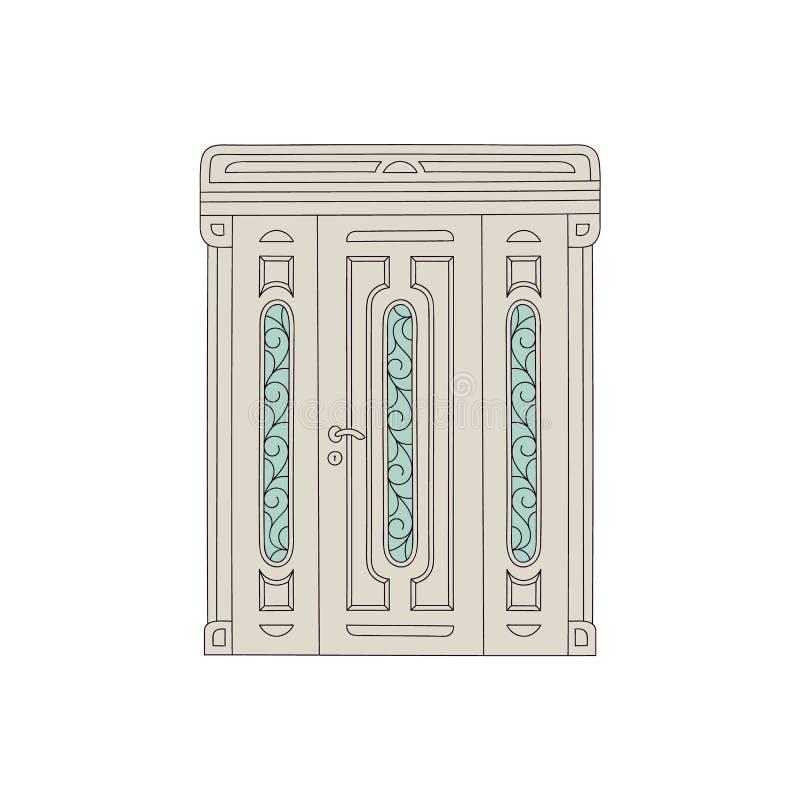 Puerta de tres piezas adornada, entrada exterior de la arquitectura antigua con los paneles de cristal decorativos libre illustration