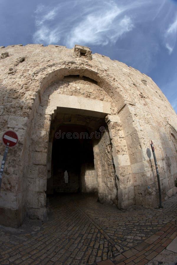 Puerta de Tzion de la ciudad vieja Jerusalén imagen de archivo libre de regalías
