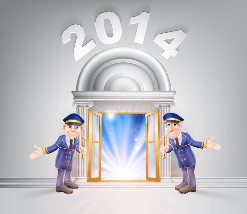 Puerta 2014 del Año Nuevo y Doormen stock de ilustración