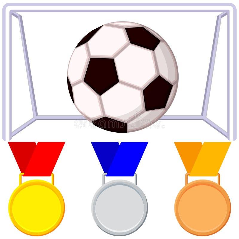 Puerta del balón de fútbol de la historieta de Colorfull, sistema del icono de la medalla libre illustration