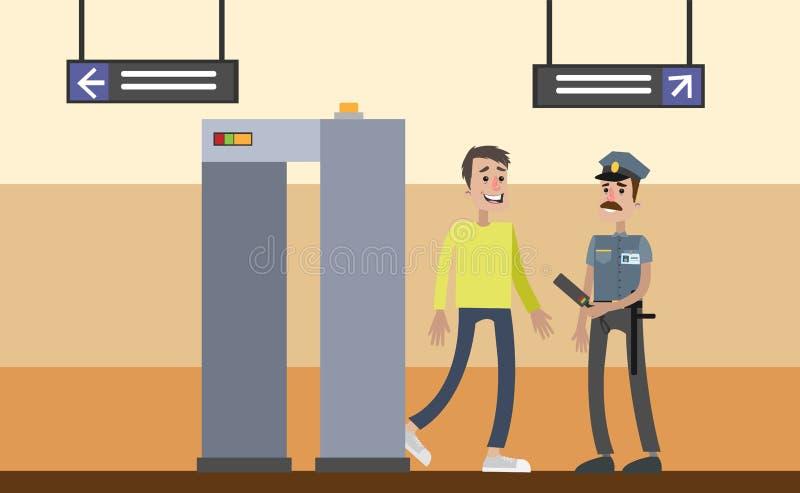 Puerta del control de seguridad stock de ilustración