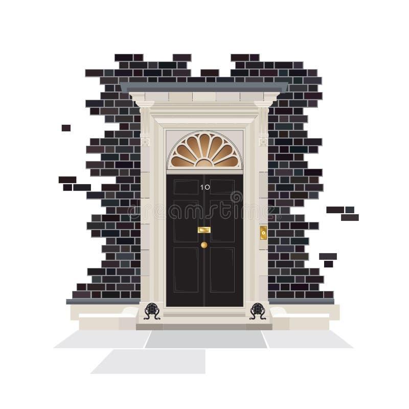 Puerta del Downing Street 10 ilustración del vector