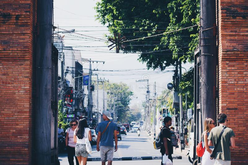 Puerta del este en la ciudad vieja de Chiang Mai imagen de archivo