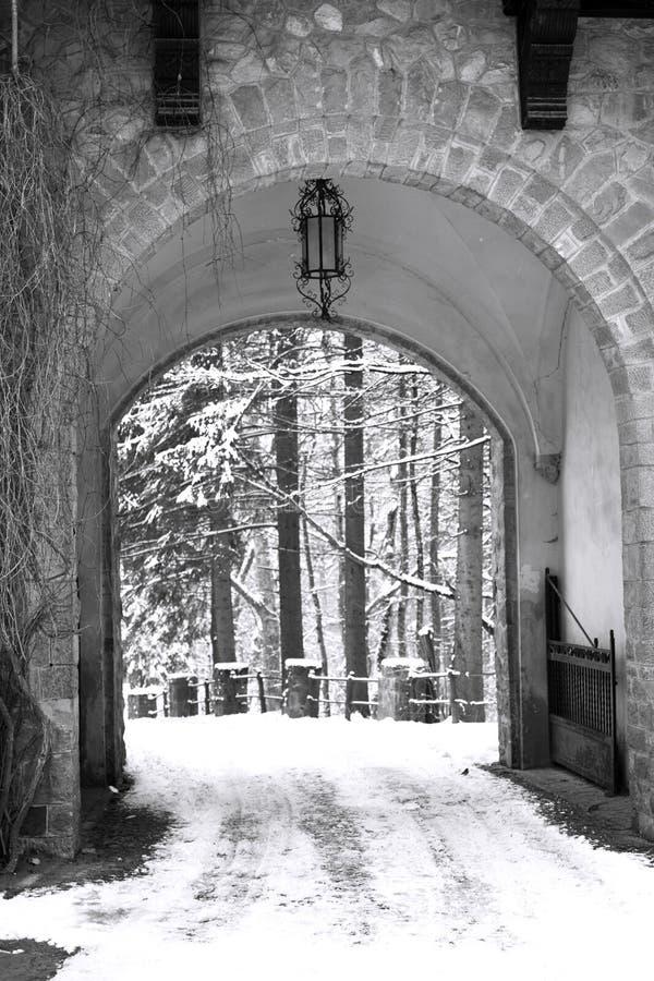 Puerta del invierno fotografía de archivo