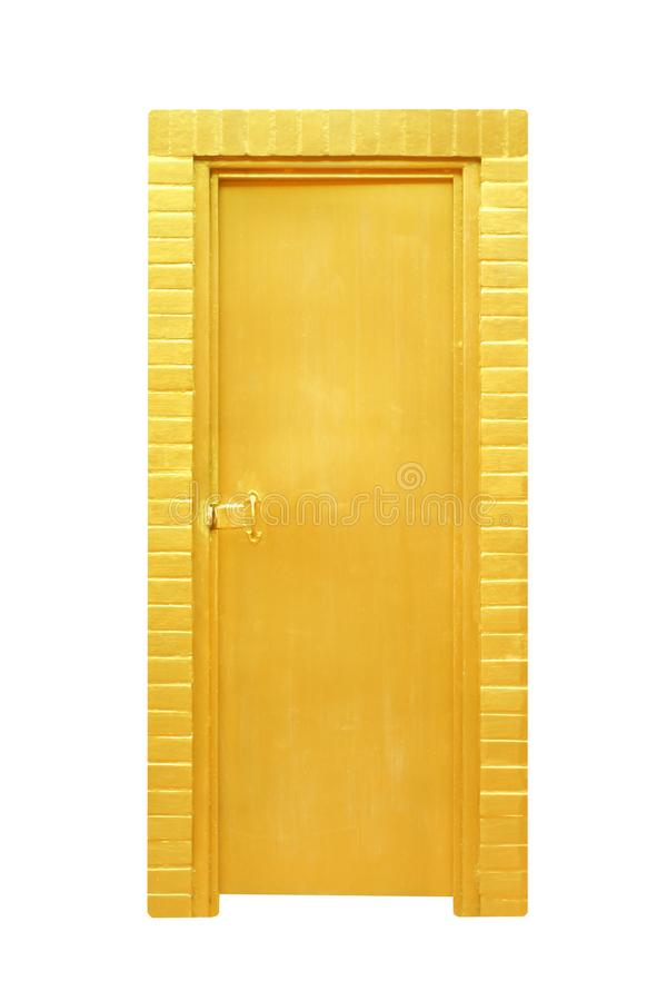 Puerta del oro aislada en el fondo blanco con la trayectoria de recortes imágenes de archivo libres de regalías