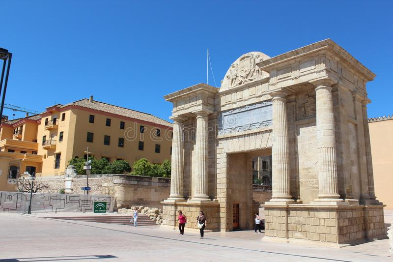 Puerta del Puente. Cordoba, Andalusia. Spain. Columns, arch. royalty free stock image