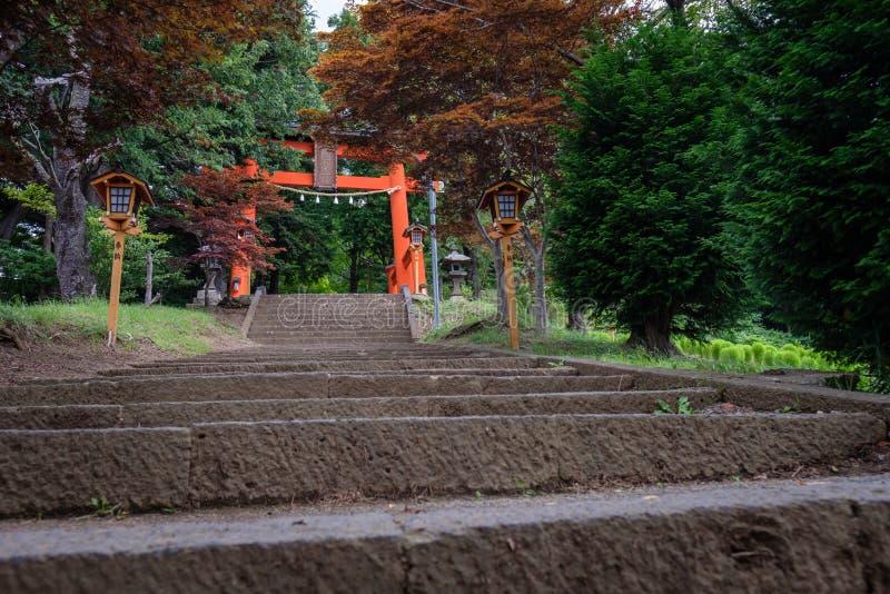 Puerta del ` s de la pagoda de Chureito, Yamanashi, Japón imagen de archivo