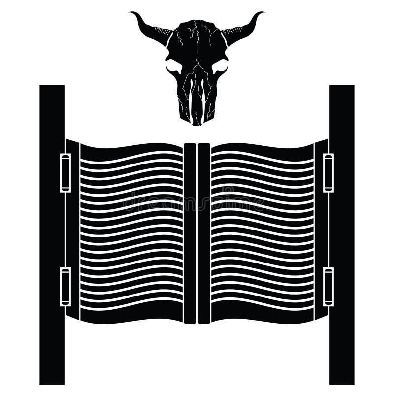 Puerta del salón y silueta del cráneo de Bull Taberna del oeste salvaje Viejo elemento de balanceo occidental Barra o Pub Front E stock de ilustración