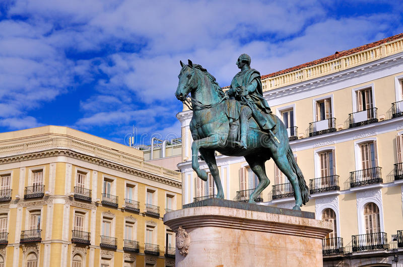 Statue of Carlos III on Puerta del Sol, Madrid. Puerta del Sol (Gate to the Sun) the central square of Madrid, Spain. On this square a statue of Charles III can royalty free stock photography