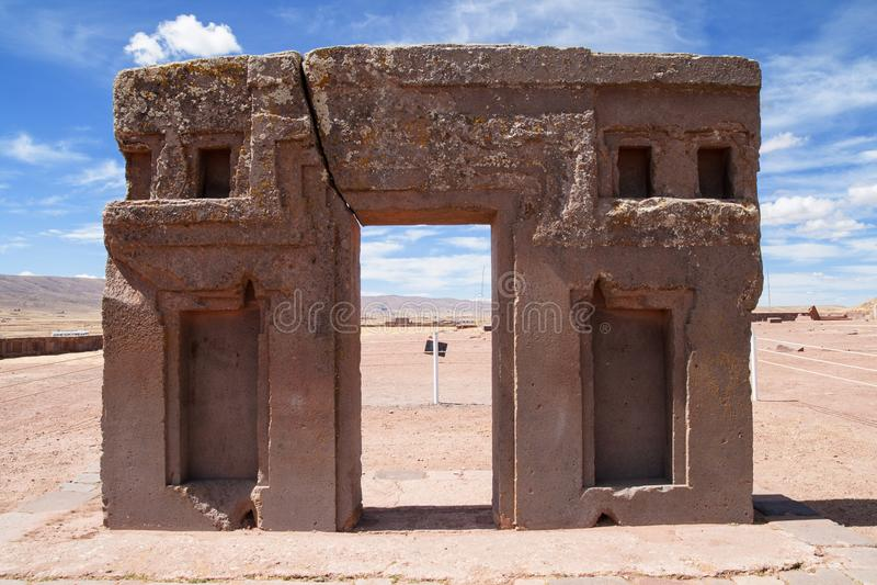 Puerta del sol, templo del kalasasaya, Bolivia fotos de archivo